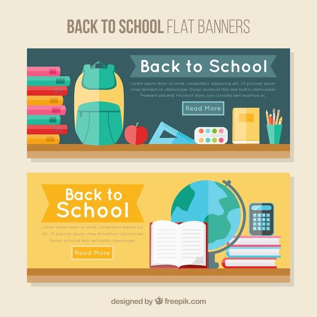مدرسه آگهی ها با عناصر طراحی تخت