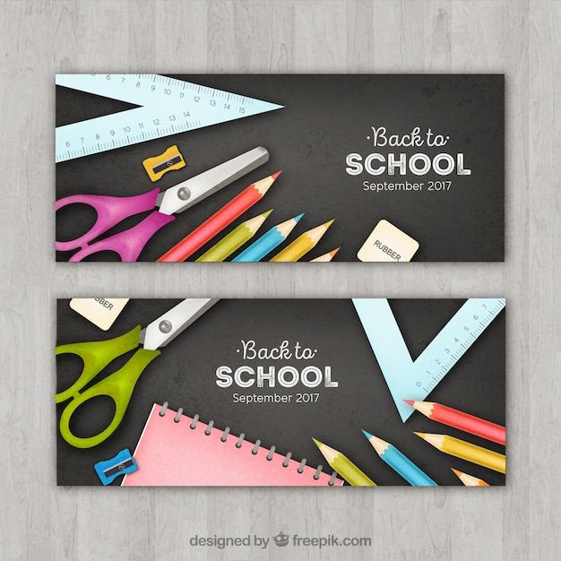 School banners with realistic school accesories