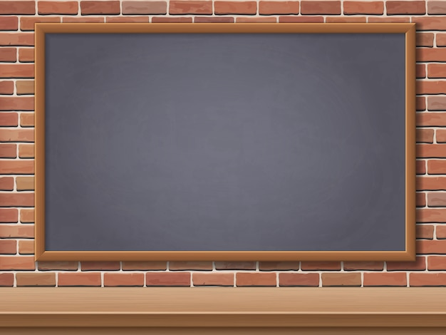 School Blackboard And Desk On Brick Wall Background