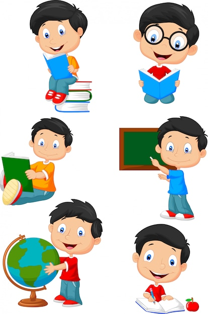 School boy cartoon character collection set Premium Vector