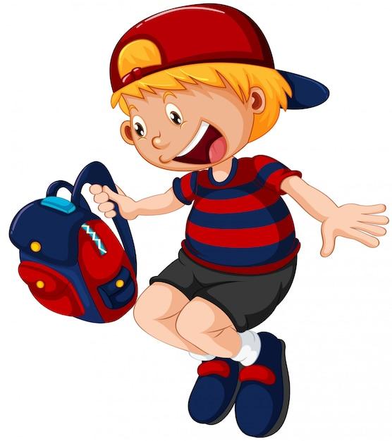 A school boy character Free Vector