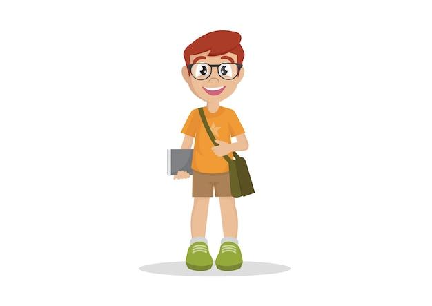学校の少年眼鏡本の学生。 Premiumベクター
