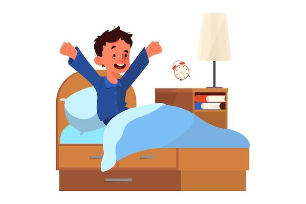 Концепция расписания школьника. маленький мальчик просыпается с солнцем в хорошем настроении. отдых в спальне и утреннее пробуждение. Premium векторы