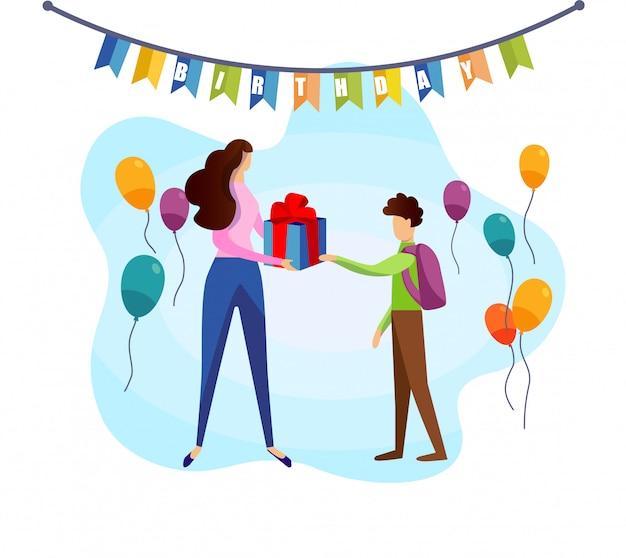 School boy take birthday gift box from mother hand Premium Vector