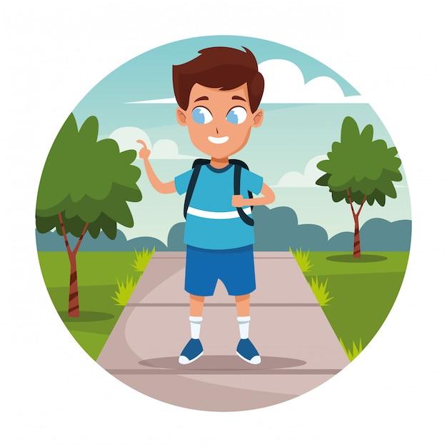 School boy with backpack cartoon Free Vector