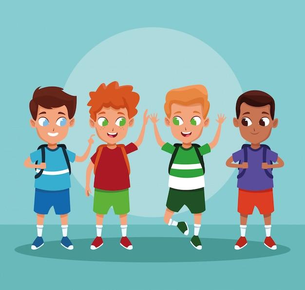 School boys cartoons on blue background Free Vector