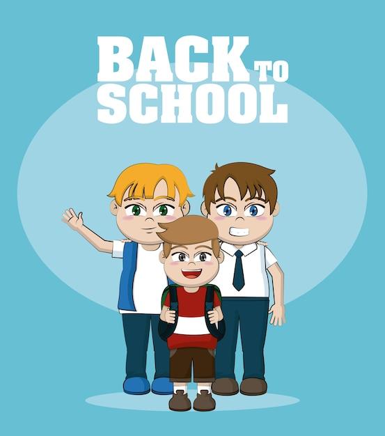 School Boys Friends Cartoons Vector Premium Download