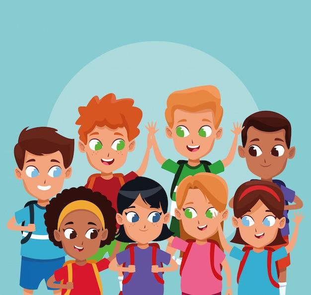 School boys and girls cartoons Free Vector