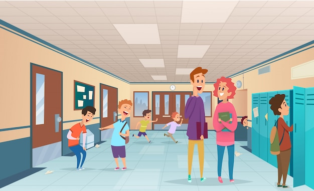 School break. trouble pupils and students disorganized at school break in corridor  cartoon characters Premium Vector