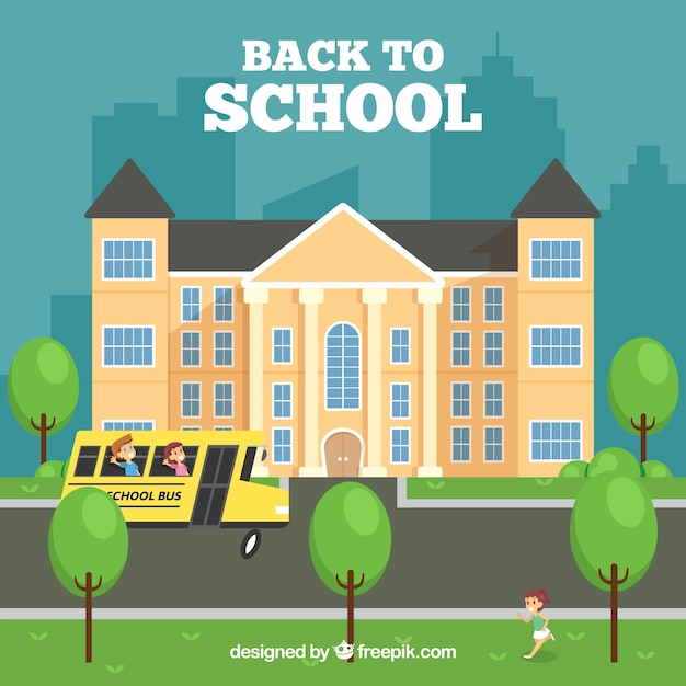 School building and bus with flat design
