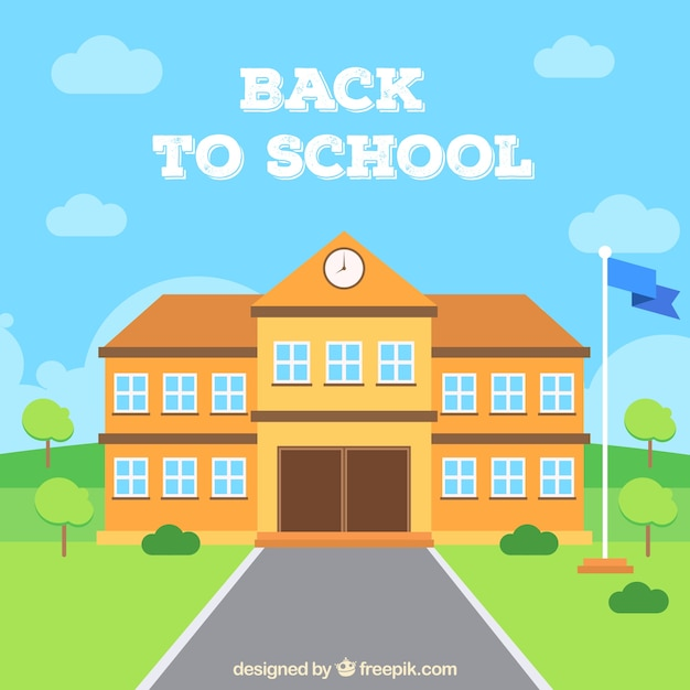 School building and waving flag with flat design