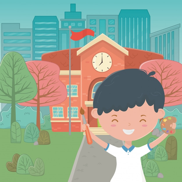 School building and boy cartoon Free Vector