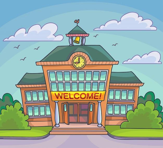 School building bright cartoon illustration vector Premium Vector