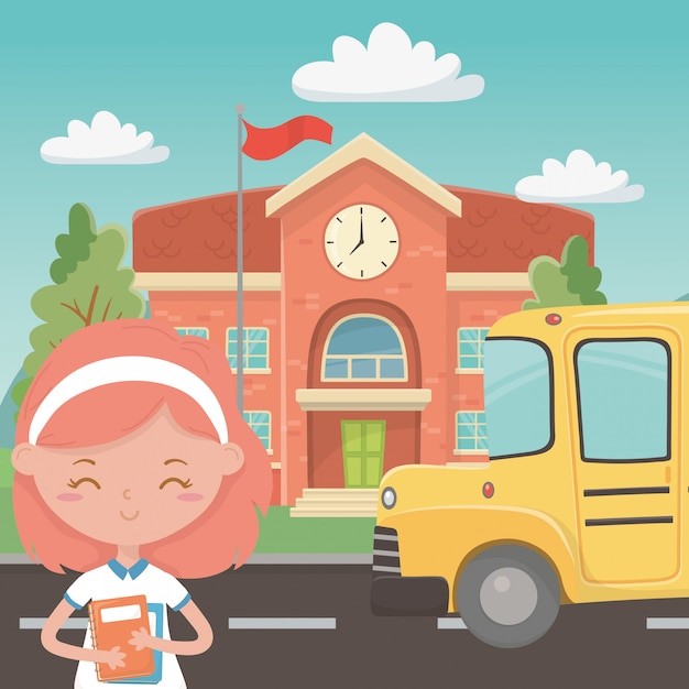 School building bus and girl Free Vector