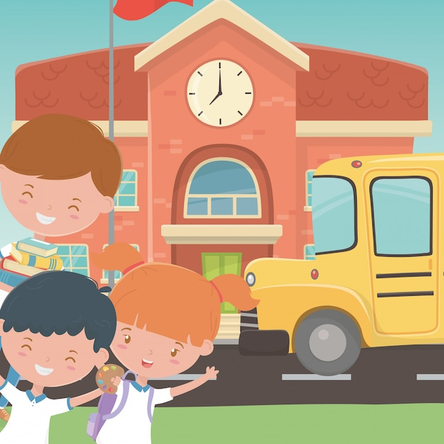 School building bus and kids Free Vector