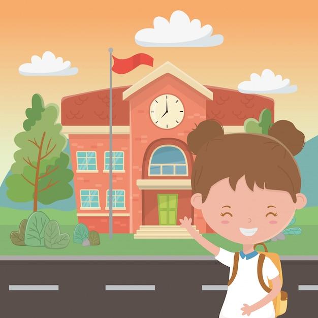 School building and girl cartoon Free Vector