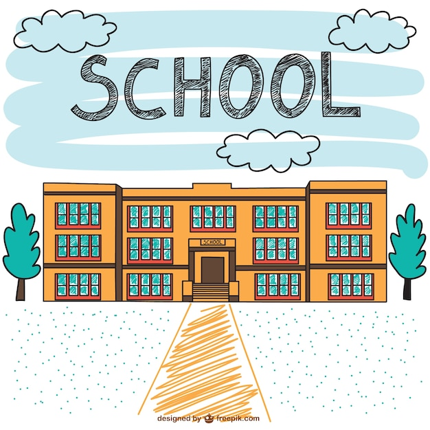 School building hand drawn scene Vector | Free Download