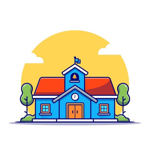 School building illustration Free Vector