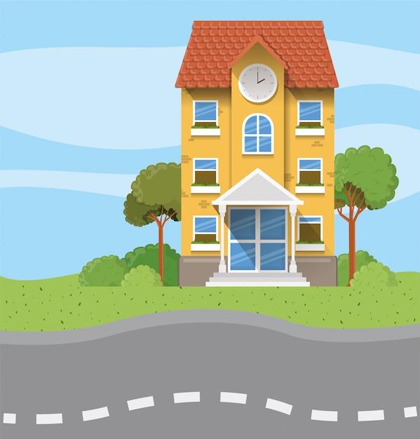 School building in the road scene Free Vector
