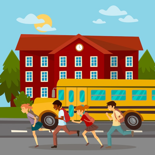 School building. scholars running to school Premium Vector