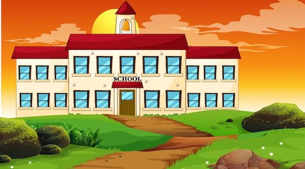 School building sunset scene Free Vector
