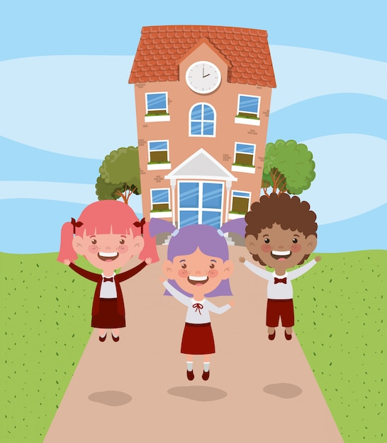 School building with interracial kids in the road scene Free Vector