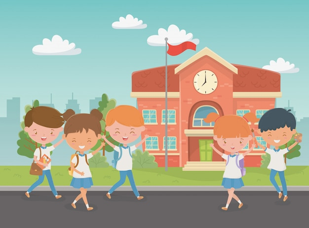 School building with kids in the scene Free Vector