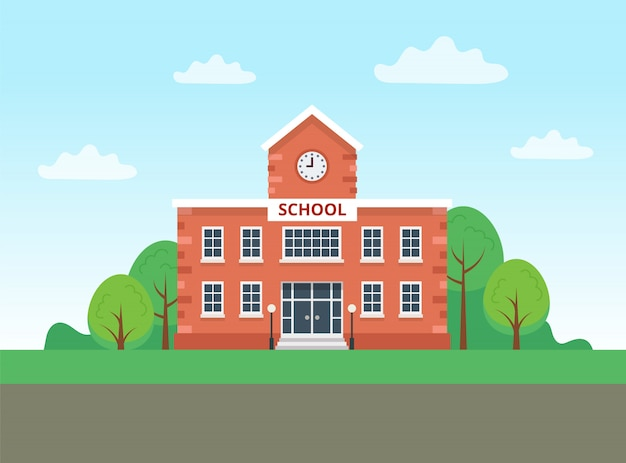 School building with landscape. Premium Vector