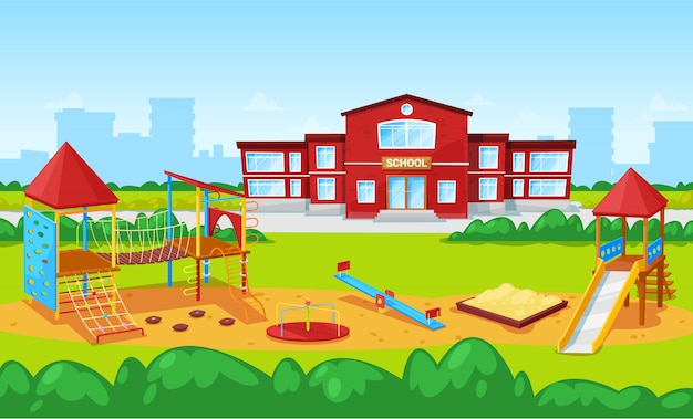 School building and yard playground for kids city illustration Premium Vector