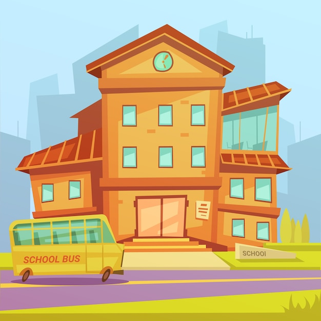 School building Free Vector