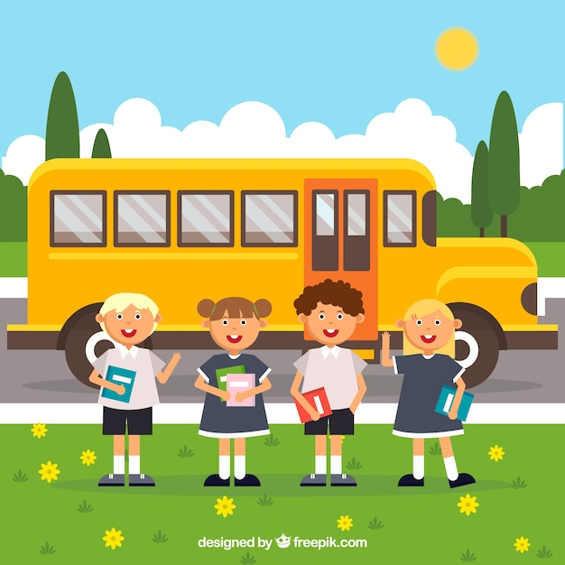 School bus and smiley students with flat design