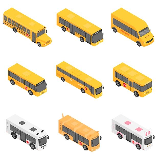 School bus back kids icons set Premium Vector