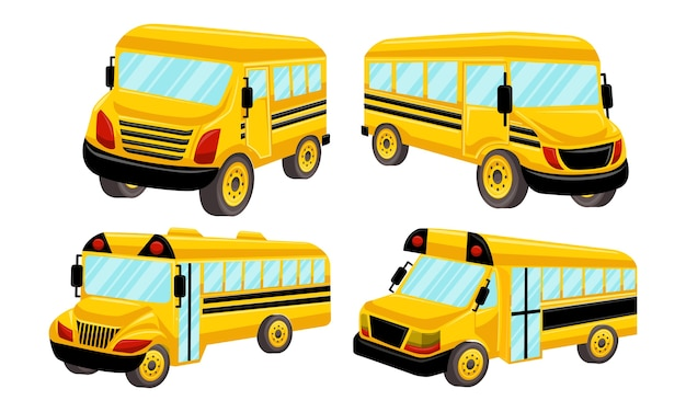 School bus template vector isolated design set Premium Vector