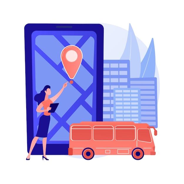 스쿨 버스 추적 시스템 추상적 인 개념 그림 무료 벡터