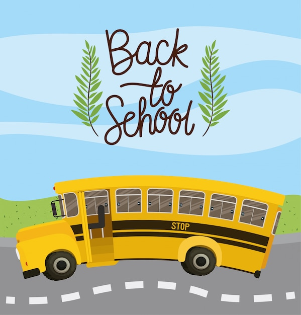 School bus transport in the road Free Vector