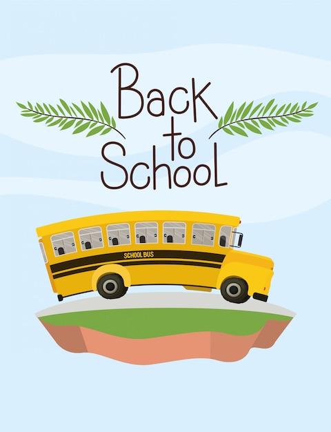 School bus transport in the terrain Free Vector