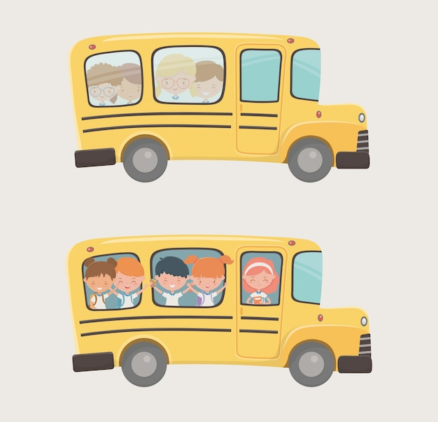 School bus transport with group of kids Free Vector