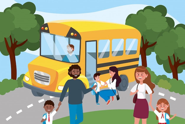 School bus with father and mother with their girls and boys Free Vector