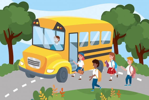 School bus with girls and boys students with backpack Free Vector