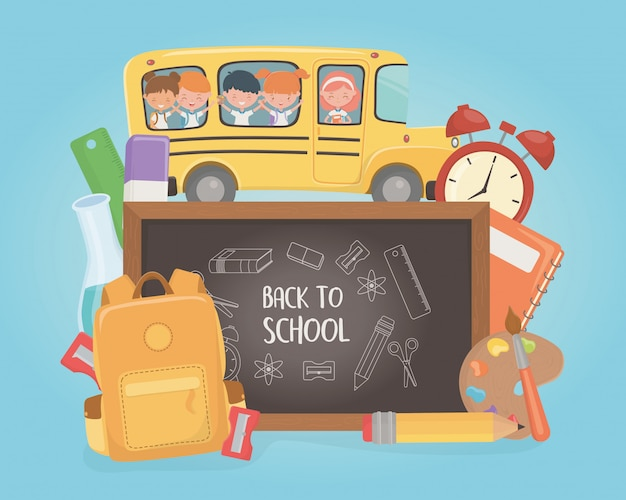 School bus with group of kids and supplies Free Vector