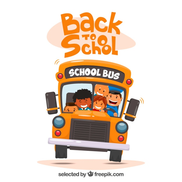 School bus with kids illustration Free Vector