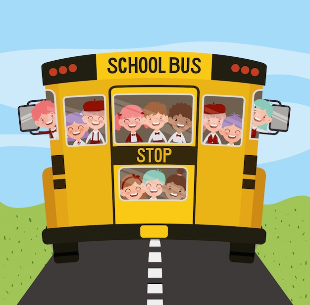 School bus with kids in the road Free Vector