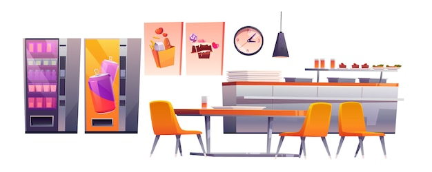 School cafe, college canteen, dining room stuff Free Vector