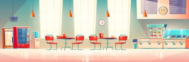 School cafe, university canteen, empty dining room Free Vector