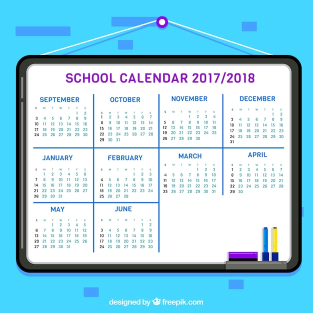School calendar 2017- 2018 in flat design