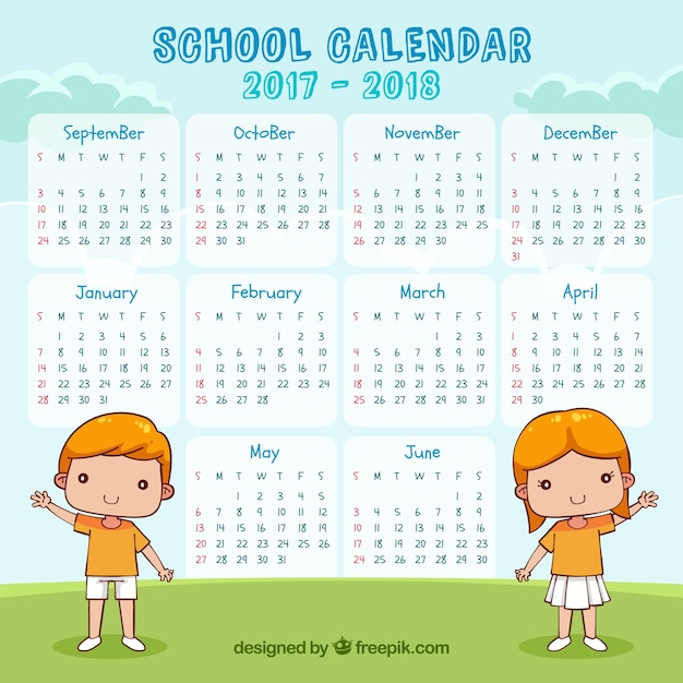 School calendar 2017-2018 with children greeting