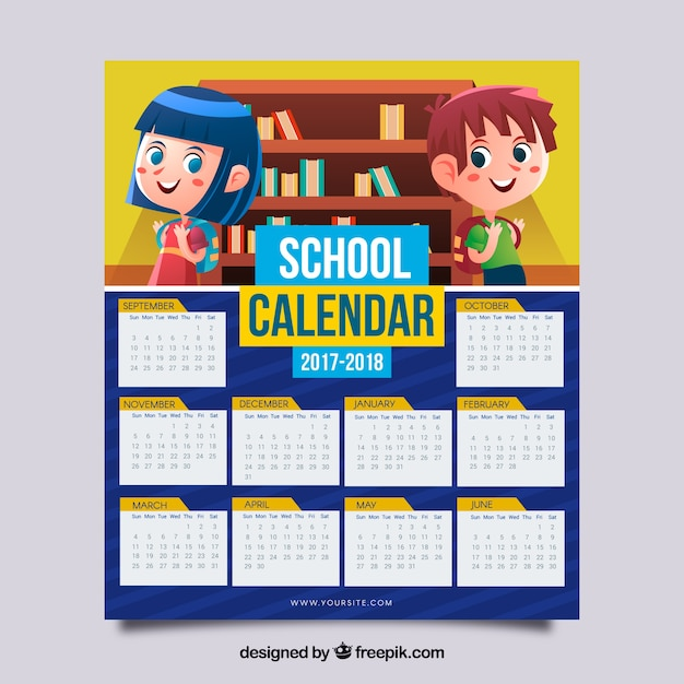 School Calendar  With Children Vector  Free Download