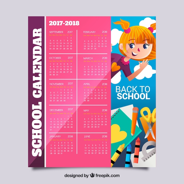 School calendar 2017-2018 with girl and materials