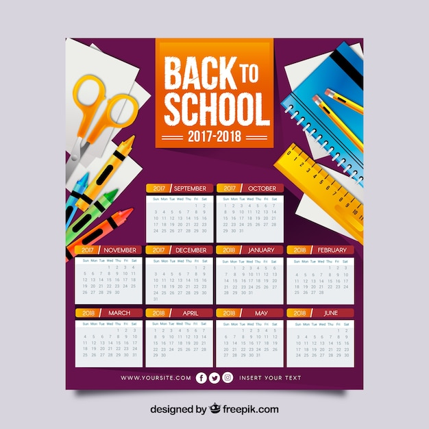 School calendar 2017-2018 with materials in flat design