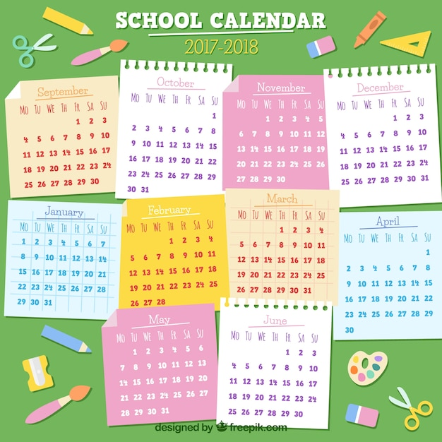 School calendar 2017-2018 with sticky notes